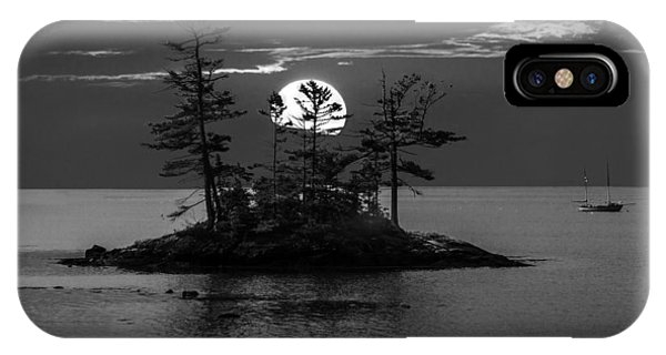 Small Island At Sunset In Black And White IPhone Case