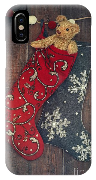 Small Teddy Bear In Stocking For Christmas IPhone Case