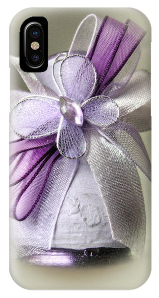 Small Vase With Butterfly And Violet Ribbons IPhone Case