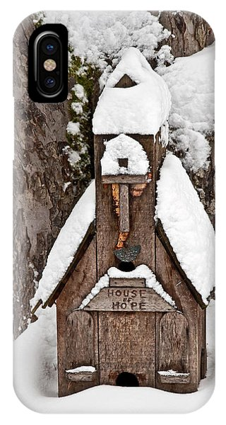 Small Wood Church House Of Hope In Snow IPhone Case