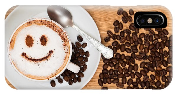 Beverage iPhone Case - Smiley Face Coffee by Amanda Elwell