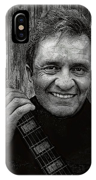 Johnny Cash iPhone Case - Smiling Johnny Cash by Daniel Hagerman