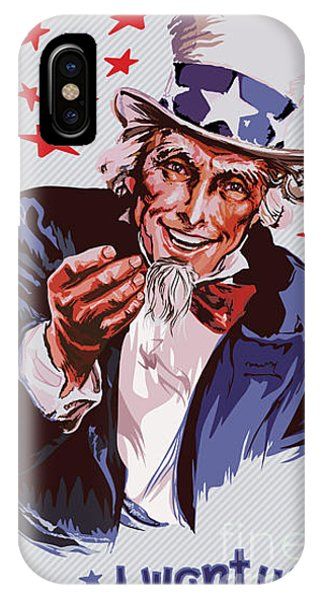 Clothing iPhone Case - Smiling Uncle Sam Removable Text by Ultraviolet