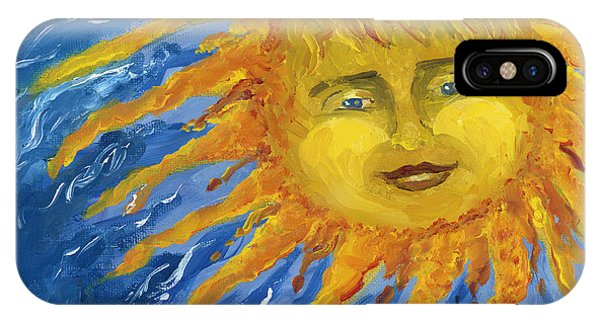 Smiling Yellow Sun In Blue Sky IPhone Case