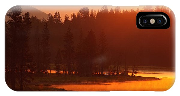 Smoky Sunrise At Yellowstone's Fishing Bridge IPhone Case