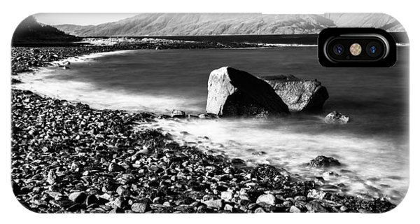 Smooth Water Rocky Beach And Mountains IPhone Case