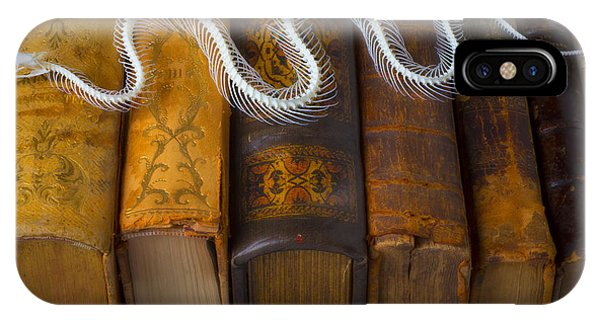 Serpent iPhone Case - Snake And Antique Books by Garry Gay