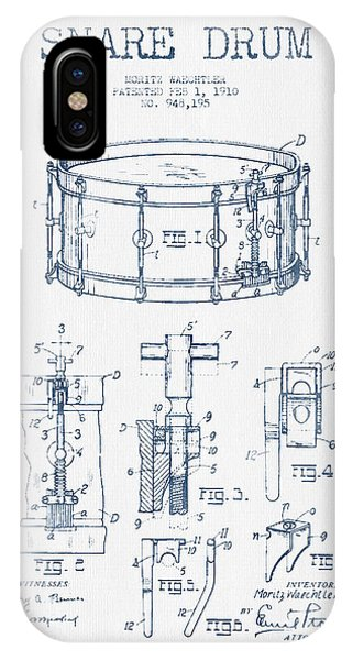 Drum iPhone Case - Snare Drum Patent Drawing From 1910  - Blue Ink by Aged Pixel