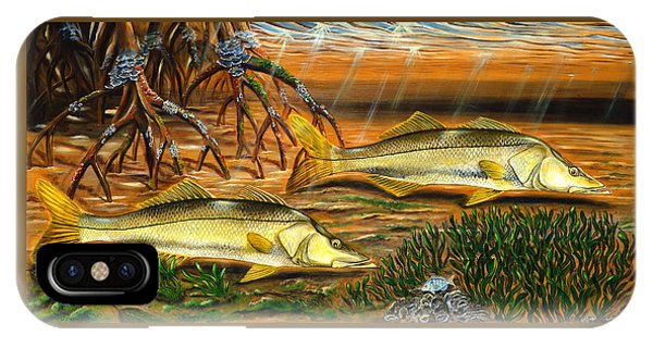 IPhone Case featuring the painting Snook In The Mangroves by Steve Ozment