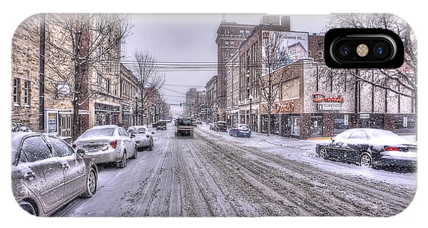IPhone Case featuring the photograph Snow Covered High Street And Cars In Morgantown by Dan Friend