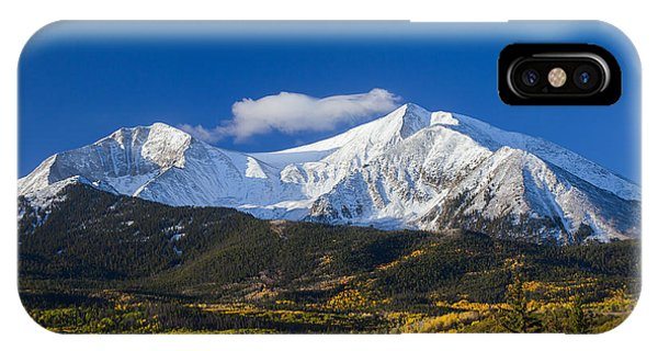 Bell iPhone Case - Snow Covered Mount Sopris With Golden Aspen Trees by Bridget Calip
