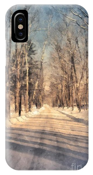 Snowy Road iPhone Case - Snow Covered New England Road by Edward Fielding