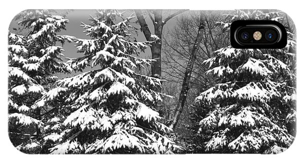 Snow Covered Pines Black And White IPhone Case