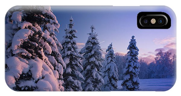 Winter iPhone Case - Snow Covered Spruce Trees At Sunset by Kevin Smith