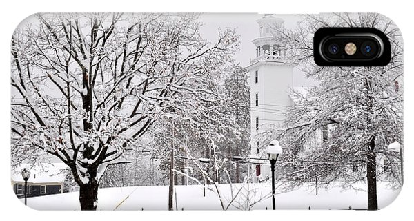 Snow Covered Town Green IPhone Case