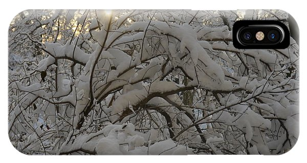 Snow Covered Tree And Sun IPhone Case