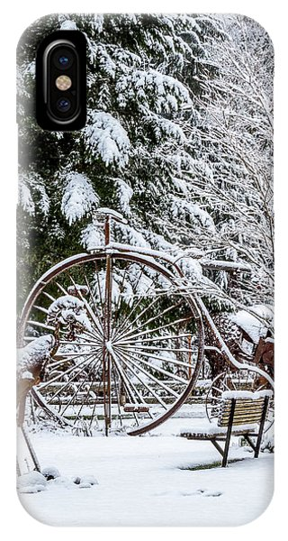 Snow Covered Vintage Iron Bicycle - Fabricated Art IPhone Case