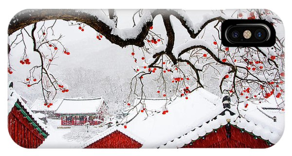 Rooftops iPhone Case - Snow In Temple by Bongok Namkoong