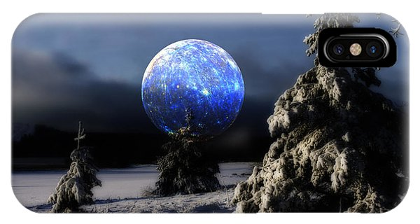 Snow Landscape With Large Surreal Full Moon IPhone Case