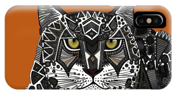 Geo iPhone Case - Snow Leopard Orange by Sharon Turner