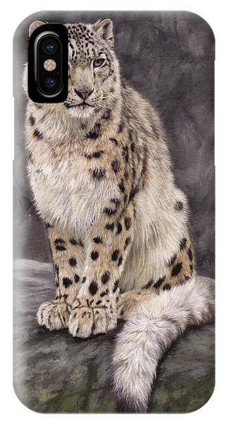 Snow Leopard iPhone Case - Snow Leopard Sentry by David Stribbling