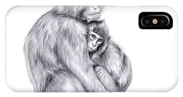 Snow Monkey And Baby Phone Case by Svetlana Ledneva-Schukina