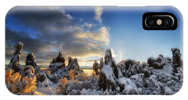Snow On Tufa At Mono Lake IPhone Case