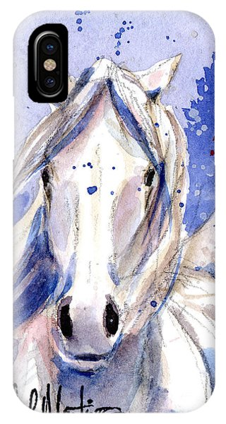 IPhone Case featuring the painting Snow Pony 2 by Linda L Martin