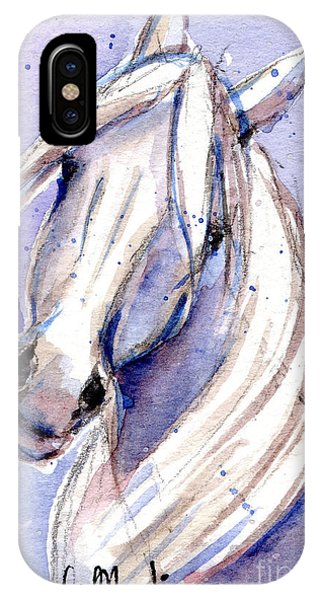 IPhone Case featuring the painting Snow Pony 3 by Linda L Martin