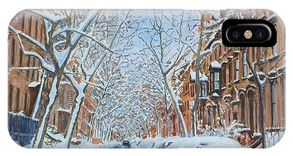 Brownstone iPhone Case - Snow Remsen St. Brooklyn New York by Anthony Butera