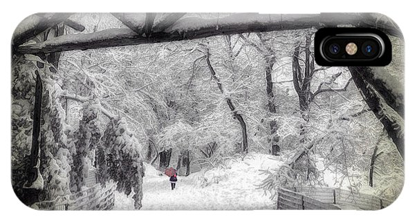 Snow Scene In Central Park IPhone Case