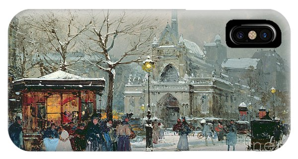Road Signs iPhone Case - Snow Scene In Paris by Eugene Galien-Laloue