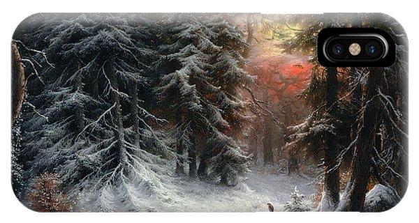 Wintry iPhone Case - Snow Scene In The Black Forest by Carl Friedrich Wilhelm Trautschold