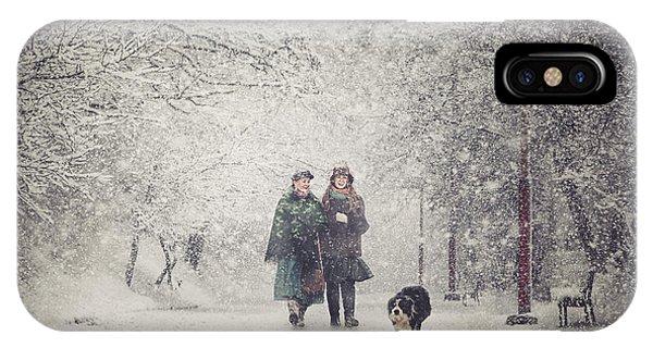Park Bench iPhone Case - Snow Storm Charm by Stanislav Hricko