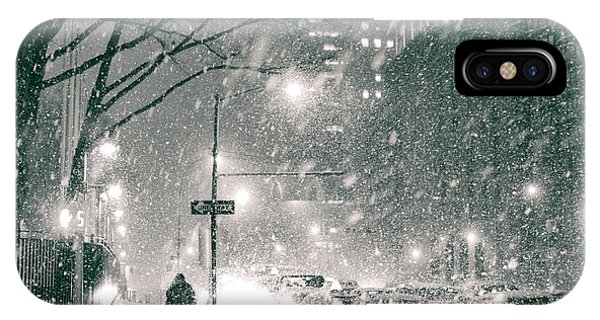 Snow Swirls At Night In New York City IPhone Case