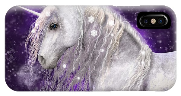 Snow Unicorn With Purple Background IPhone Case
