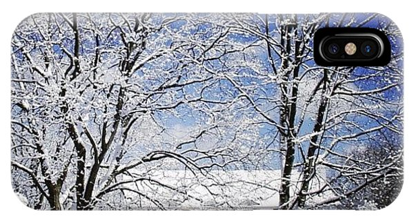 House iPhone Case - #snow #winter #house #home #trees #tree by Jill Battaglia