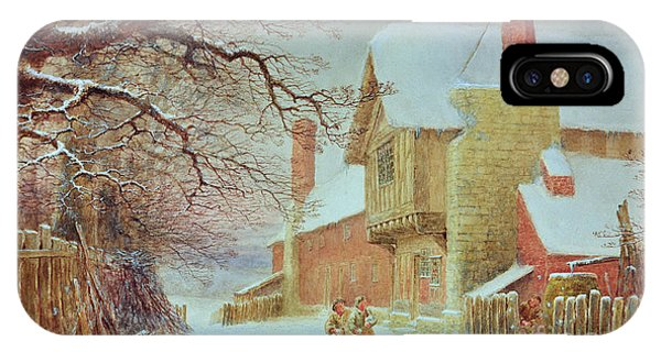 White Fence iPhone Case - Snowballing At Tiddlington by William W Quatremain