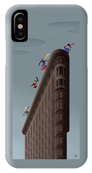 Snowboarders Fly Off The Flatiron Halfpipe IPhone Case