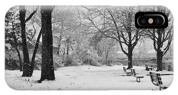 Snowing Out In Black And White IPhone Case