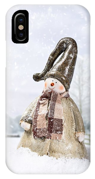 White Fence iPhone Case - Snowman by Amanda Elwell