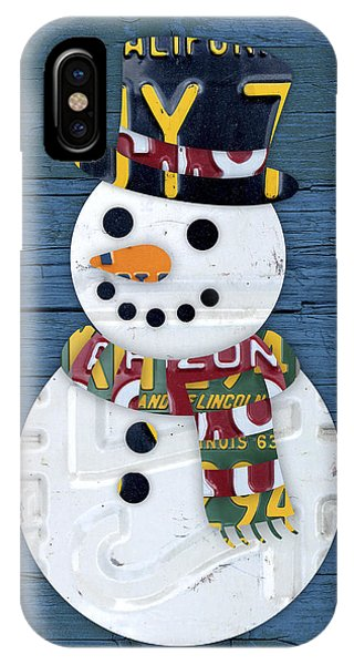Winter iPhone Case - Snowman Winter Fun License Plate Art by Design Turnpike