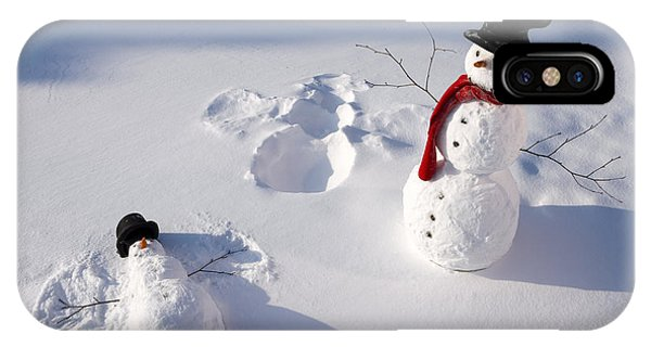 Winter iPhone Case - Snowmen In Forest Making Snow Angel by Kevin Smith