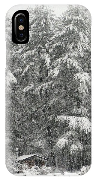 Snowstorm In The Woods IPhone Case