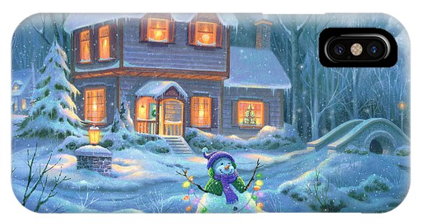 Snowy iPhone Case - Snowy Bright Night by Michael Humphries