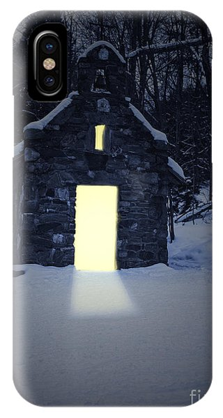 Snowy Chapel At Night IPhone Case