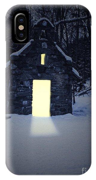 Cabin iPhone Case - Snowy Chapel At Night by Edward Fielding