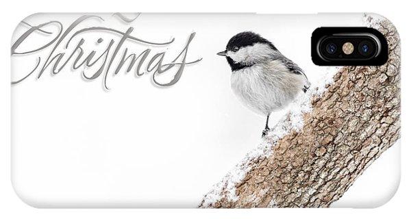 Snowy Chickadee Christmas Card IPhone Case