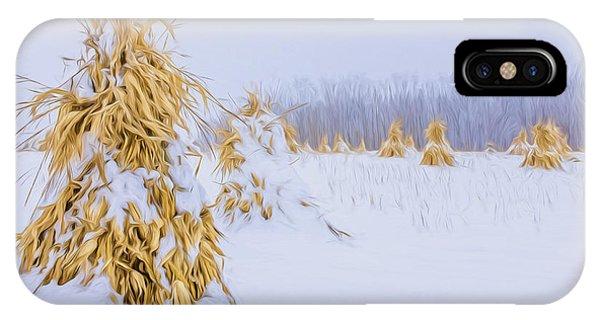 Snowy Corn Shocks - Artistic IPhone Case
