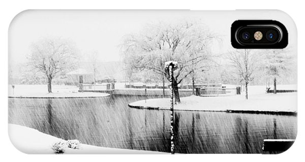 Snowy Day On Man Made Pond IPhone Case